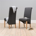 Chairs Charcoal Linen Rollback Dining Chair