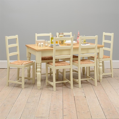 Wiltshire Painted 152cm Kitchen Table And 6 Rush Seat Chairs With F