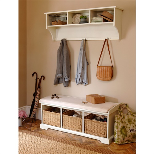 tetbury ivory hall bench and shelf unit set b477 with