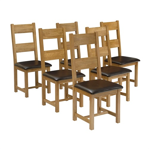 Oakland Set Of 6 Leather Seat Ladderback Chairs C260