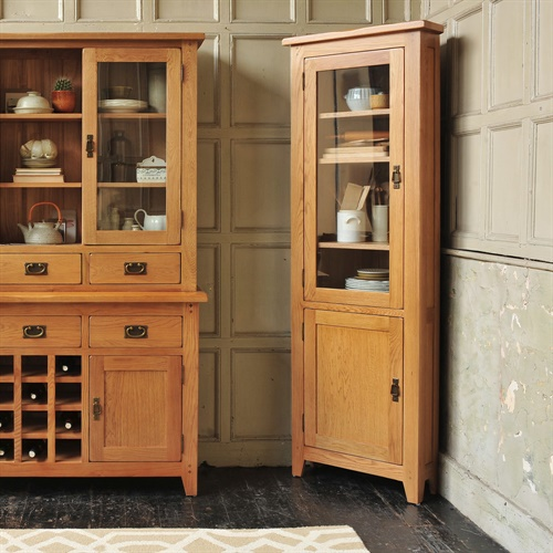 Kitchen Cabinets Oakland Ca: Oakland Corner Display Cabinet, Rustic Oak, Fully