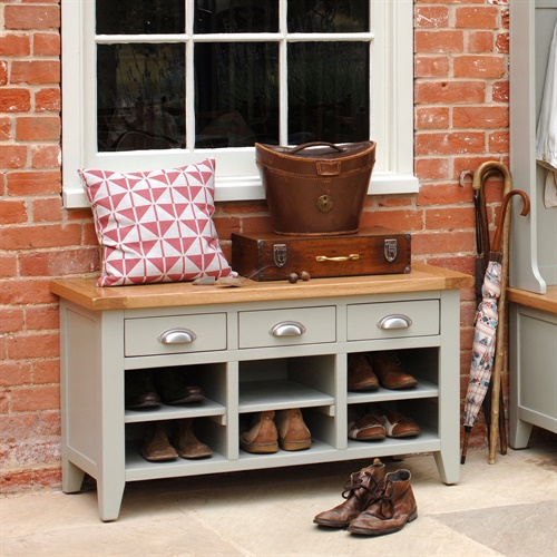 Caldecote French Grey Shoe Storage Bench C315 With Free