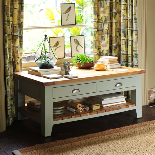 Caldecote French Grey Coffee Table With Drawers (C319