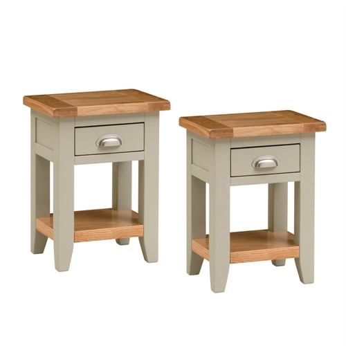 Caldecote french grey set of 2 small bedside tables c330 with free