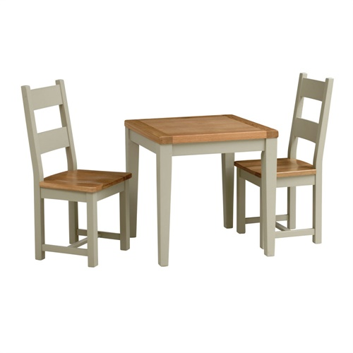 caldecote french grey small table and 2 ladderback chairs c342 with