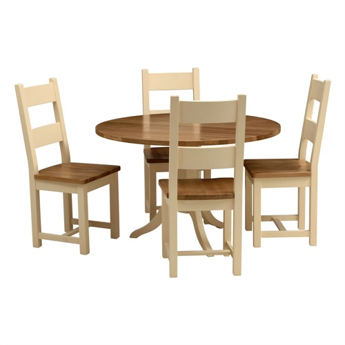 cheltenham cream round dining table with 4 ladderback