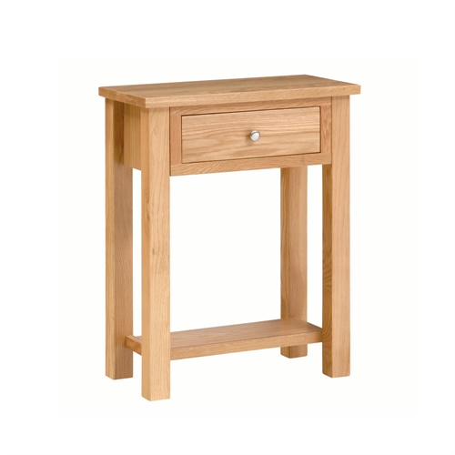 Essentials light oak high side table with drawer e815 for Oak lamp table 60cm high