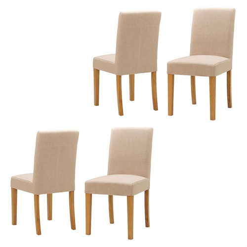 Set Of 4 Country Cream Dining Chairs: Light Oak Set Of 4 Cream Linen Dining Chairs (808.097