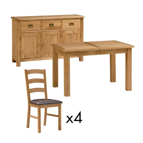 Lyon Petite Oak Dining Set With Table 4 Chairs And Sideboard E931 With Fre