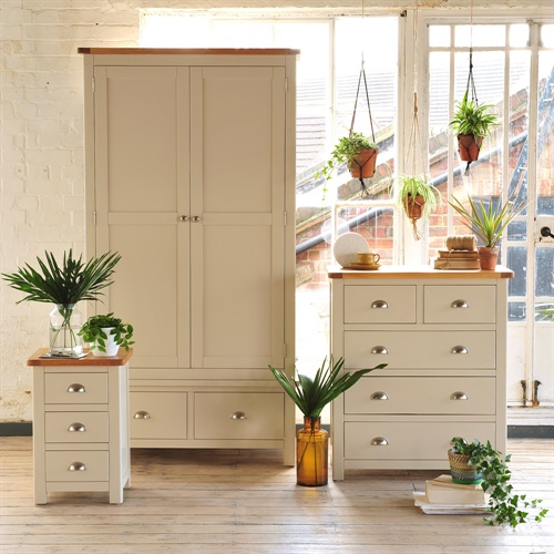 Lundy stone grey bedroom set with gents wardrobe j469 for White bedroom furniture with pine tops