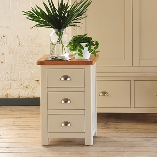 Lundy Stone Grey 3 Drawer Bedside