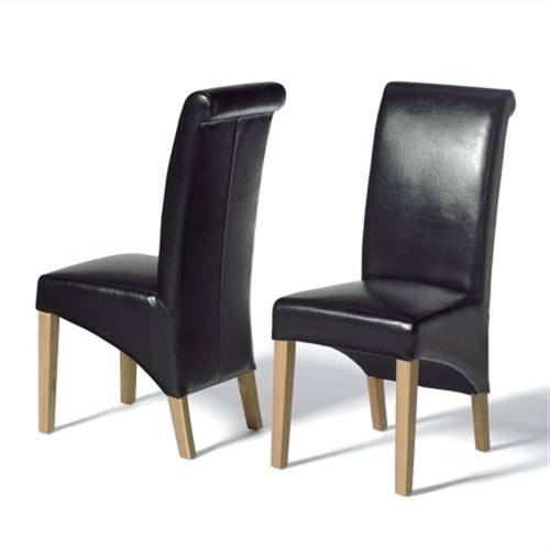 Light Oak Rollback Black Leather Dining Chair 808 018