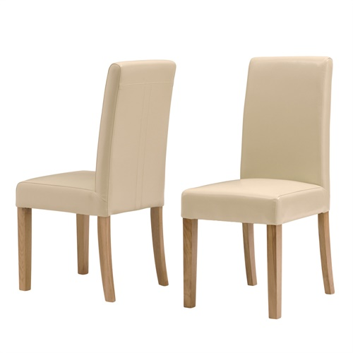 Light Oak Cream Leather Dining Chair (J627) With Free