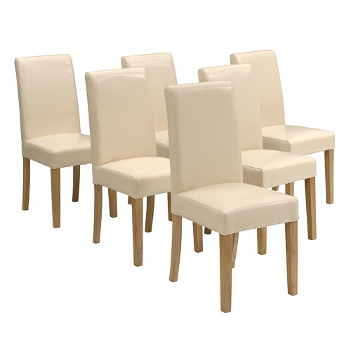 Cream Dining Room Chairs: 6 X (set Of) Castle Oak Classic Cream Bonded Leather