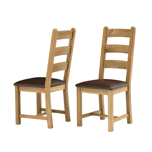 Pair of Kingsley Oak Dining Chair Rustic Fully Assembled  : K50334 from www.ebay.co.uk size 500 x 500 jpeg 69kB