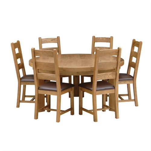 Kingsley Oak 160cm Round Table and 6 Chairs K510 with  : K51014 from www.cotswoldco.com size 500 x 500 jpeg 87kB
