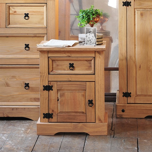 Corona Mexican Solid Pine 1 Drawer Bedside Cabinet L192