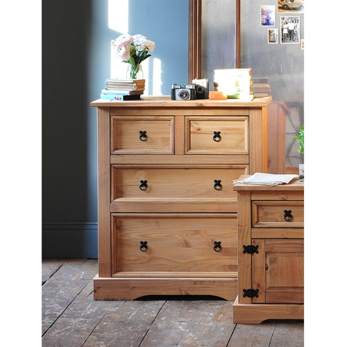 Aztec Mexican Style Solid Wood Pine Bedroom Furniture: Corona Mexican Solid Pine 2+2 Chest Of Drawers, Storage