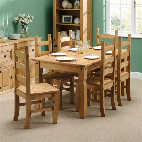 Corona Mexican Solid Pine 152cm Dining Set With 6 Chairs L1998 With Free De