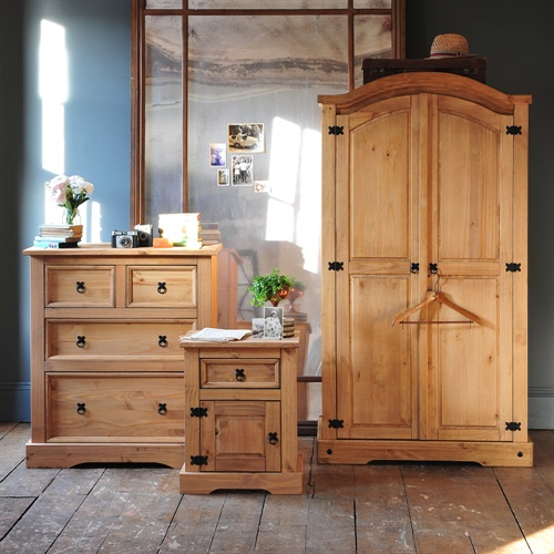 Aztec Mexican Style Solid Wood Pine Bedroom Furniture: Corona Mexican Solid Pine Trio Double Wardrobe Bedroom Set
