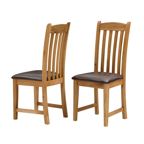 Lyon Oak Dining Chair With Bonded Leather Seat L364 With Free Delivery Th