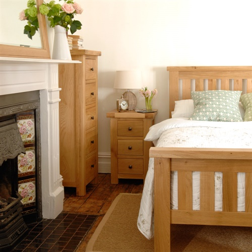 Portland Oak Double Bedroom Set (L470) With Free Delivery