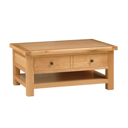 Portland Oak Large Coffee Table With Drawer L495 With Free Delivery The Cotswold Company
