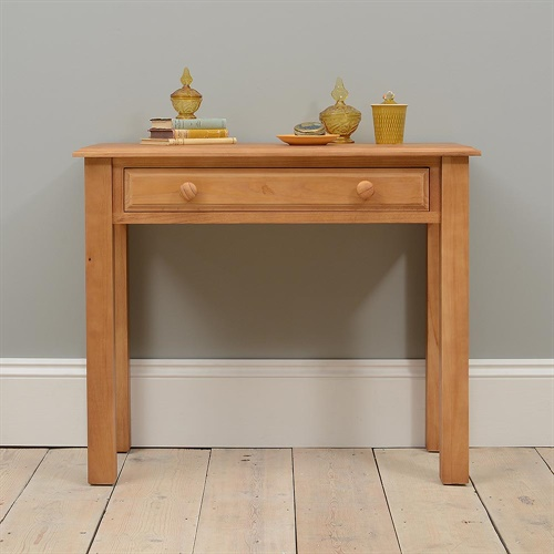 Langley pine 1 drawer dressing table l823 with free for Narrow dressing table