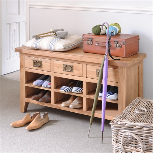 Kitchen Cupboards Montague Gardens: Montague Oak Large Shoe Cabinet With Drawers (M004) With