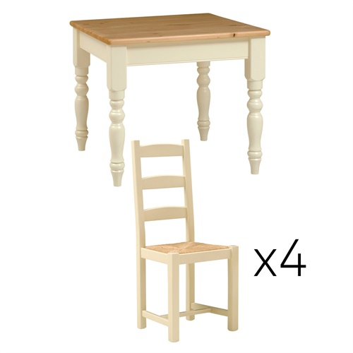 Wiltshire Painted 91cm Table And 4 Rush Seat Chairs M408 With Free Delivery