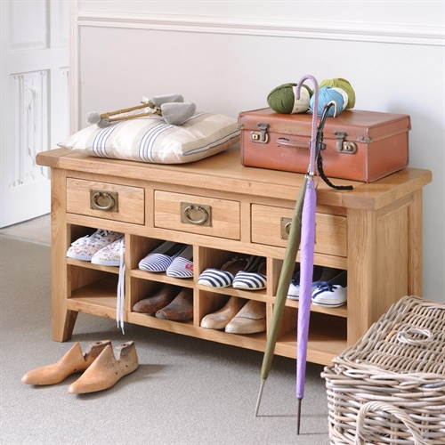 Kitchen Cupboards Montague Gardens: Montague Oak Shoe Cabinet With Drawers (M513) With Free