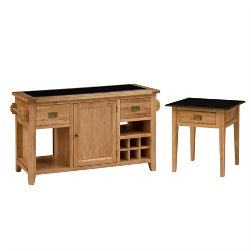 Kitchen Island Table Granite: Montague Oak Granite Top Kitchen Island And Side Table Set (M582) With Free Delivery