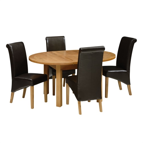 light oak 120 160cm table and 4 brown rollback chairs o360 with free