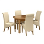 Light Oak 120 160cm Table And 4 Cream Rollback Chairs