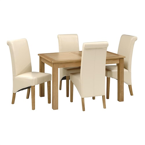 Set Of 4 Country Cream Dining Chairs: Light Oak 130-160cm Ext. Table And 4 Cream Rollback Chairs