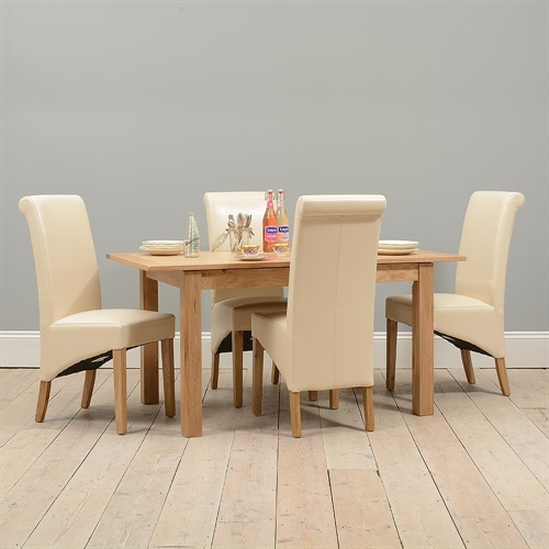 Light Oak 130 160cm Ext Table And 4 Cream Rollback Chairs P143 With Free D