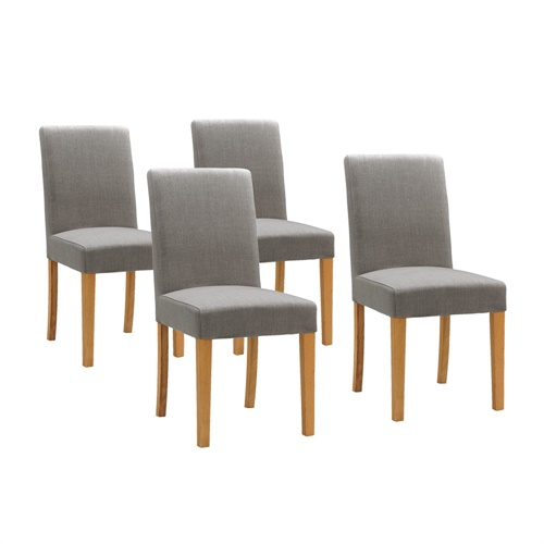 light oak set of 4 grey linen dining chairs with