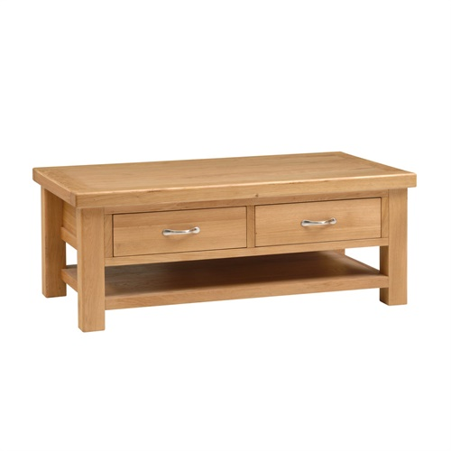 Oakham oak large coffee table with drawers u313 with for Large coffee table with drawers