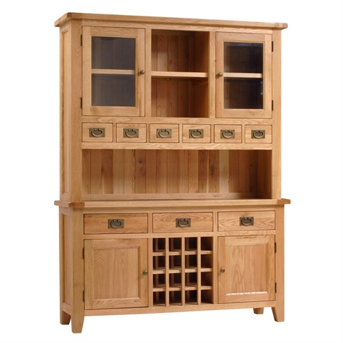 Montague Oak Kitchen Dresser With Wine Rack V800 With Free Delivery The C