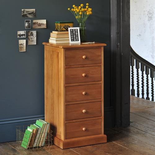 Appleby Oak 5 Drawer Narrow Chest W106 With Free