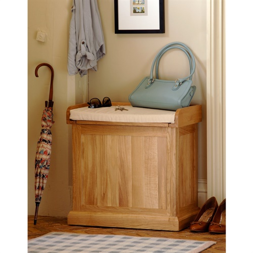 Appleby oak small shoe storage bench with cushion w141 with free delivery the cotswold Shoe storage bench with cushion