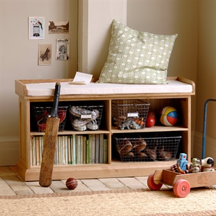 Appleby Oak Shoe Storage Bench with Cushion