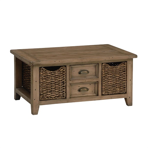 Sherwood Reclaimed Pine Large Coffee Table With Basket X028 With Free Delivery The Cotswold