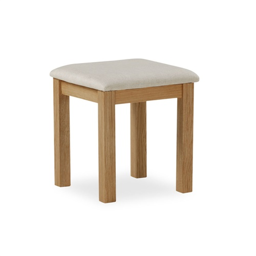 Galway oak dressing table stool with fabric seat